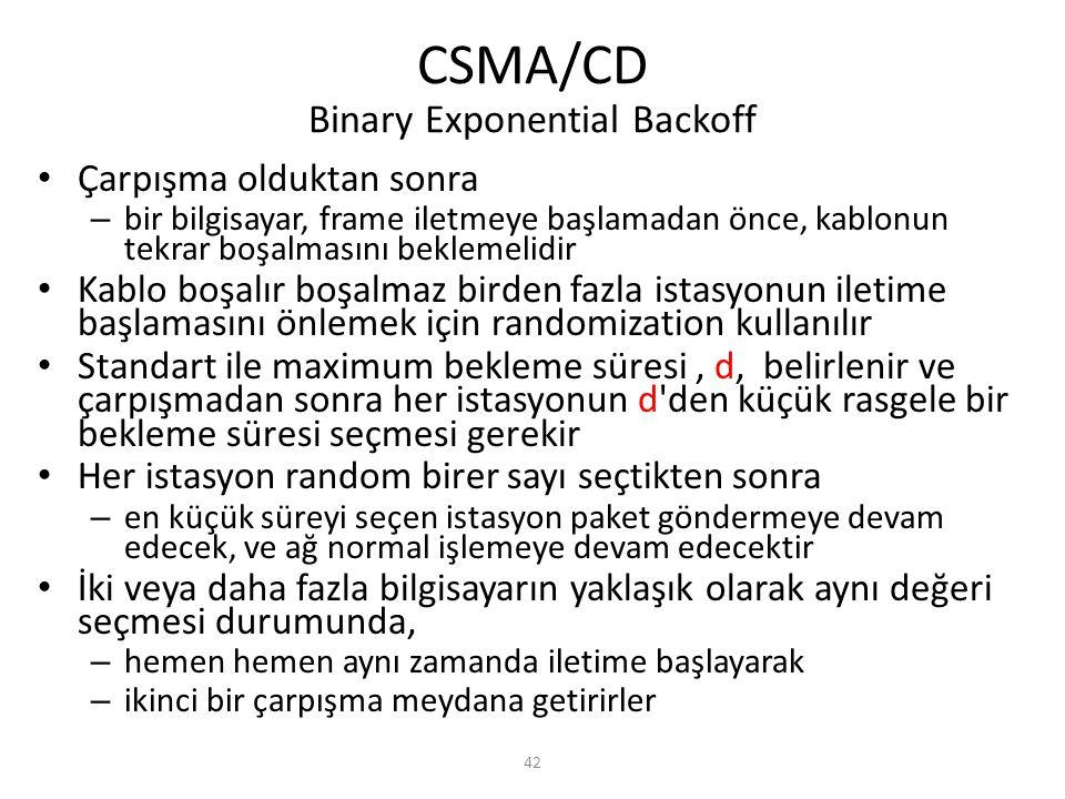 42 CSMA/CD Binary Exponential Backoff Çarpışma olduktan sonra – bir bilgisayar, frame iletmeye başlamadan önce, kablonun tekrar boşalmasını beklemelid