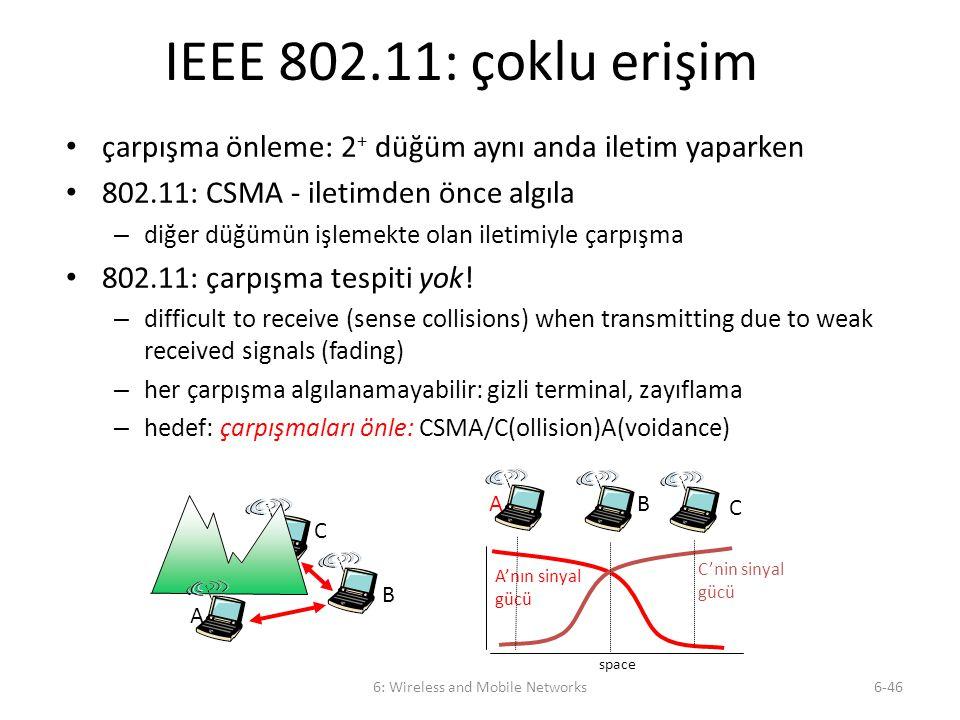 6: Wireless and Mobile Networks6-46 IEEE 802.11: çoklu erişim çarpışma önleme: 2 + düğüm aynı anda iletim yaparken 802.11: CSMA - iletimden önce algıl