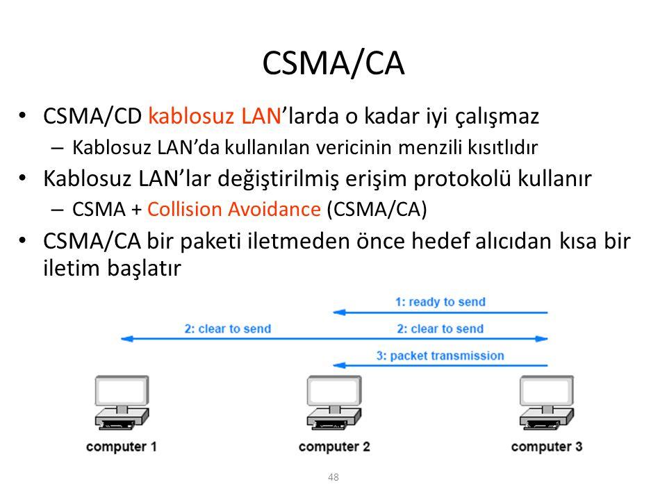 CSMA/CA 48 CSMA/CD kablosuz LAN'larda o kadar iyi çalışmaz – Kablosuz LAN'da kullanılan vericinin menzili kısıtlıdır Kablosuz LAN'lar değiştirilmiş er