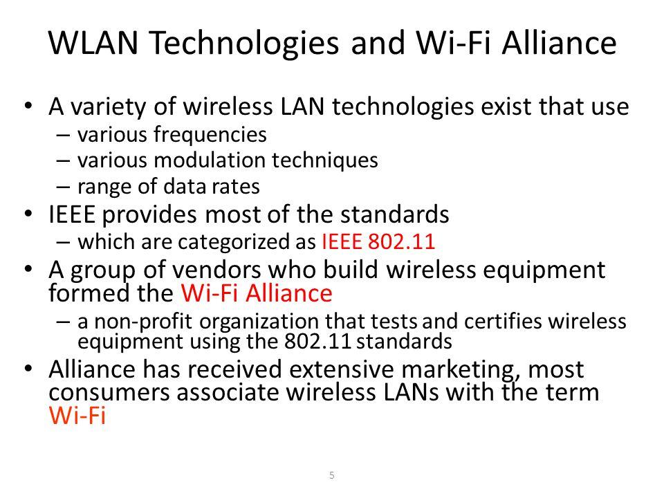 6 WLAN Teknolojileri ve Wi-Fi anlaşmaları Mevcut koblosuz LAN teknoloji çeşitleri kullanır – Çeşitli frekanslar – Çeşitli modülasyon telnikleri – Veri hızı sınırları IEEE pek çok standart sağlar – IEEE 802.11 olarak kategorize edilmiş Bir grup sağlayıcı Wi-Fi Alliance formunda kablosuz ekipman üretir – Kar amaçlı olmayan bir organizasyon802.11 standartlarını kullanarak kablosuz ekipmanlar test eder ve sertifikalandırır Alliance has received extensive marketing, most consumers associate wireless LANs with the term Wi-Fi