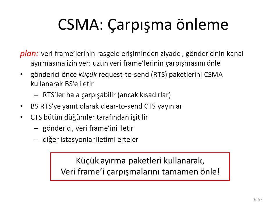 6-57 CSMA: Çarpışma önleme plan: veri frame'lerinin rasgele erişiminden ziyade, göndericinin kanal ayırmasına izin ver: uzun veri frame'lerinin çarpış