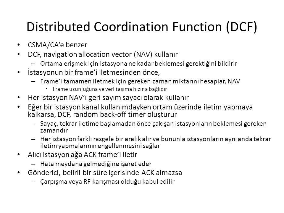 Distributed Coordination Function (DCF) CSMA/CA'e benzer DCF, navigation allocation vector (NAV) kullanır – Ortama erişmek için istasyona ne kadar bek