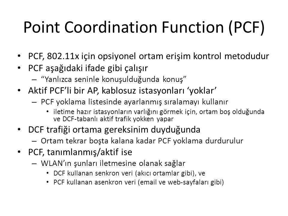 """Point Coordination Function (PCF) PCF, 802.11x için opsiyonel ortam erişim kontrol metodudur PCF aşağıdaki ifade gibi çalışır – """"Yanlızca seninle konu"""