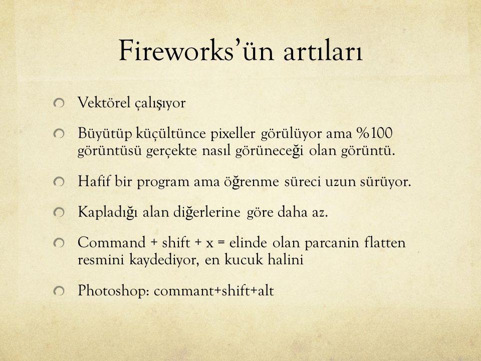 Fireworks'ün artıları Vektörel çalı ş ıyor Büyütüp küçültünce pixeller görülüyor ama %100 görüntüsü gerçekte nasıl görünece ğ i olan görüntü. Hafif bi