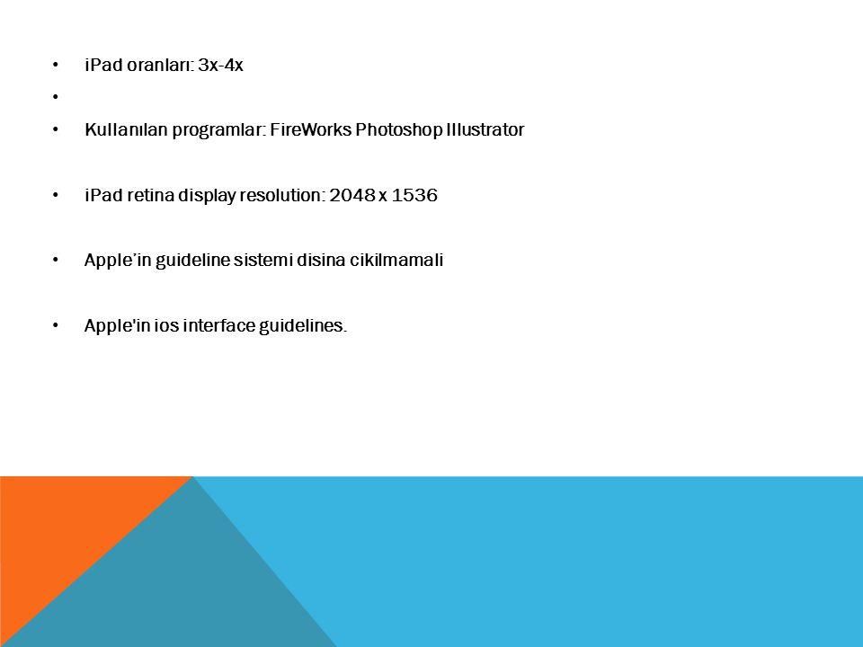 iPad oranları: 3x-4x Kullanılan programlar: FireWorks Photoshop Illustrator iPad retina display resolution: 2048 x 1536 Apple'in guideline sistemi dis