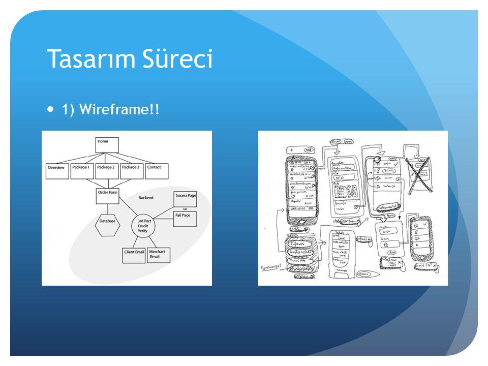 Tasarım Süreci 1) Wireframe!!