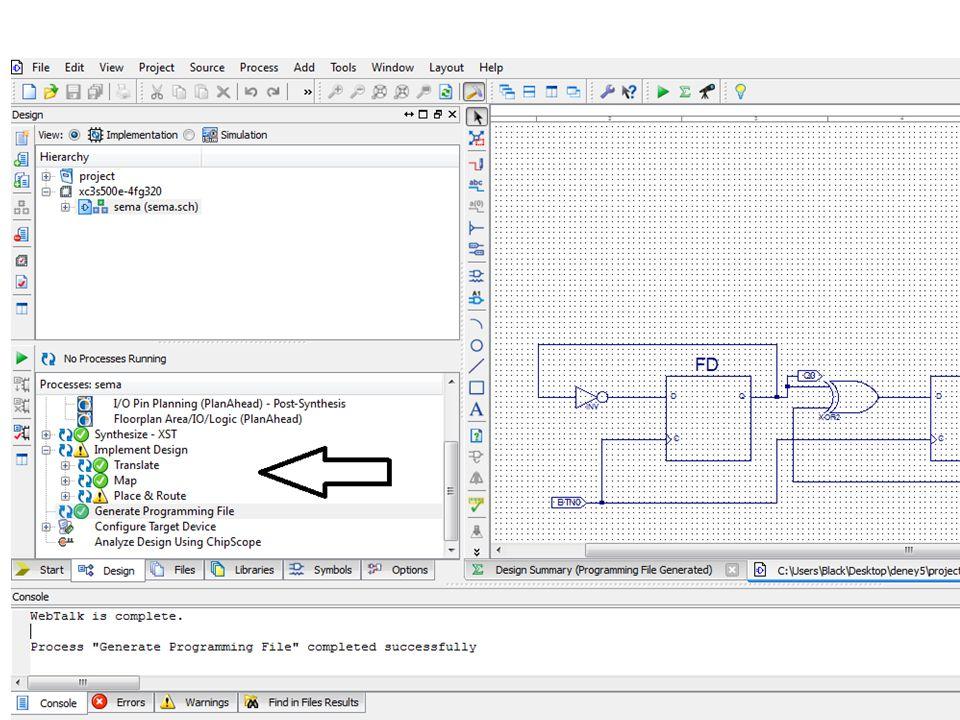 Bu aşamalardan sonra '.bit' uzantılı dosya olmuş olup FPGA'e yüklenmeye hazırdır.