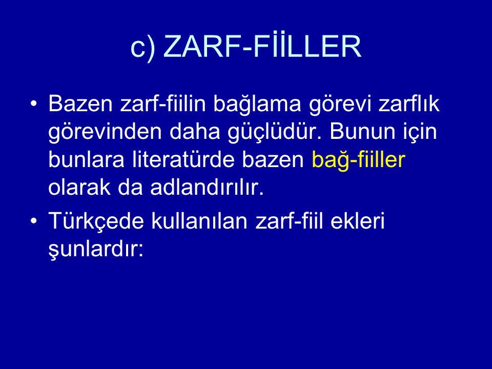 c) ZARF-FİİLLER /-r/… /-mAz/ Geniş zaman ekinin olumlu ve olumsuz biçimlerinin bir fiile eklenmesiyle; hemen , birden anlamında bir zaman zarfı yapar: gel-(i)r gel-mez, otur-(u)r otur-maz, ver-(i)r ver-mez, yat-(a)r yat-maz, vb.
