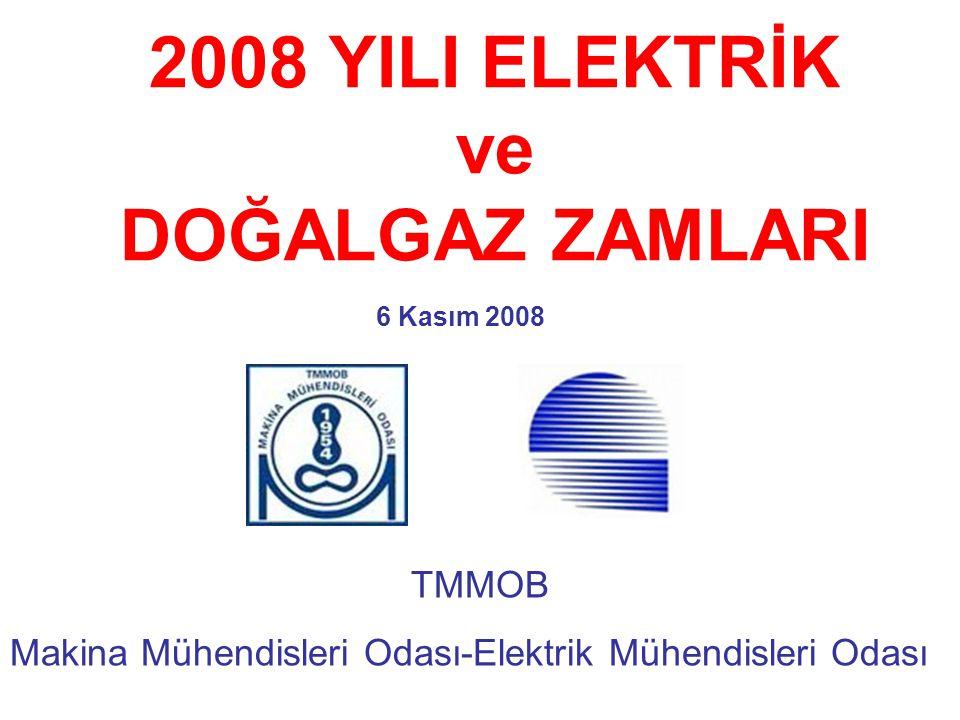 2008 YILI ELEKTRİK ve DOĞALGAZ ZAMLARI 6 Kasım 2008 TMMOB Makina Mühendisleri Odası-Elektrik Mühendisleri Odası