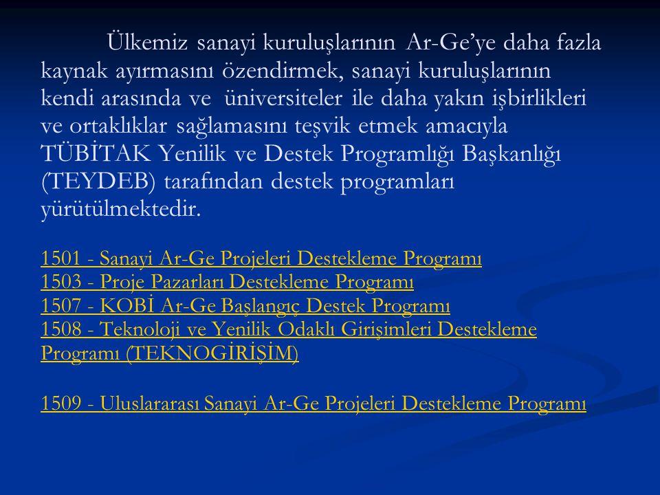 Ülkemiz sanayi kuruluşlarının Ar-Ge'ye daha fazla kaynak ayırmasını özendirmek, sanayi kuruluşlarının kendi arasında ve üniversiteler ile daha yakın işbirlikleri ve ortaklıklar sağlamasını teşvik etmek amacıyla TÜBİTAK Yenilik ve Destek Programlığı Başkanlığı (TEYDEB) tarafından destek programları yürütülmektedir.