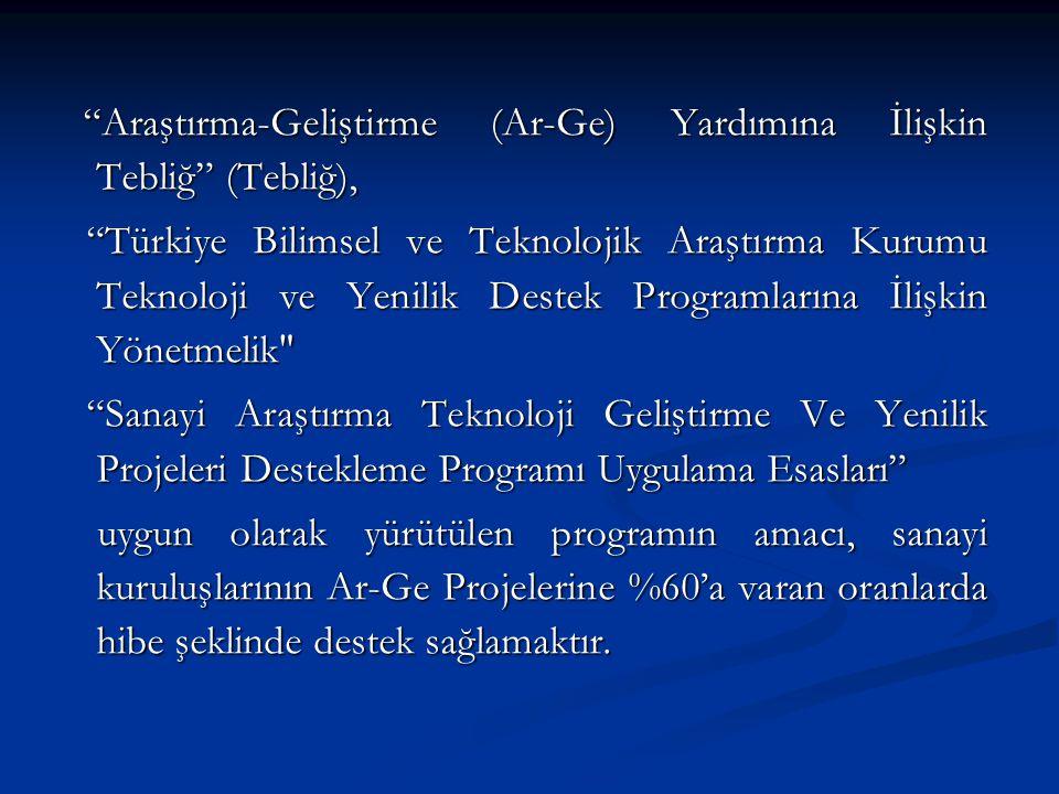 Araştırma-Geliştirme (Ar-Ge) Yardımına İlişkin Tebliğ (Tebliğ), Araştırma-Geliştirme (Ar-Ge) Yardımına İlişkin Tebliğ (Tebliğ), Türkiye Bilimsel ve Teknolojik Araştırma Kurumu Teknoloji ve Yenilik Destek Programlarına İlişkin Yönetmelik Türkiye Bilimsel ve Teknolojik Araştırma Kurumu Teknoloji ve Yenilik Destek Programlarına İlişkin Yönetmelik Sanayi Araştırma Teknoloji Geliştirme Ve Yenilik Projeleri Destekleme Programı Uygulama Esasları Sanayi Araştırma Teknoloji Geliştirme Ve Yenilik Projeleri Destekleme Programı Uygulama Esasları uygun olarak yürütülen programın amacı, sanayi kuruluşlarının Ar-Ge Projelerine %60'a varan oranlarda hibe şeklinde destek sağlamaktır.