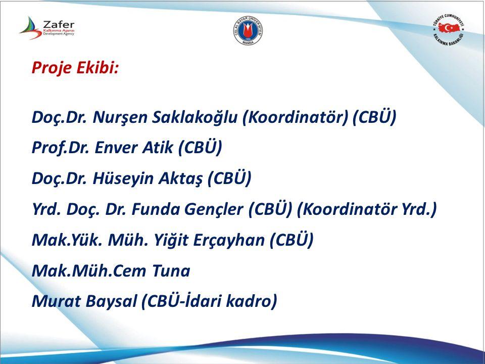 Proje Ekibi: Doç.Dr. Nurşen Saklakoğlu (Koordinatör) (CBÜ) Prof.Dr. Enver Atik (CBÜ) Doç.Dr. Hüseyin Aktaş (CBÜ) Yrd. Doç. Dr. Funda Gençler (CBÜ) (Ko