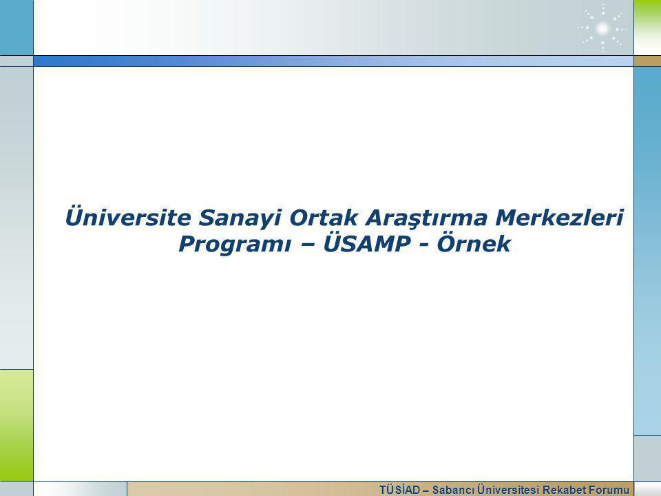 TÜSİAD – Sabancı Üniversitesi Rekabet Forumu Üniversite Sanayi Ortak Araştırma Merkezleri Programı – ÜSAMP - Örnek