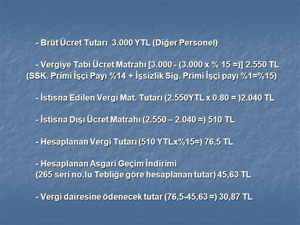 - Brüt Ücret Tutarı 3.000 YTL (Diğer Personel) - Vergiye Tabi Ücret Matrahı [3.000 - (3.000 x % 15 =)] 2.550 TL (SSK.