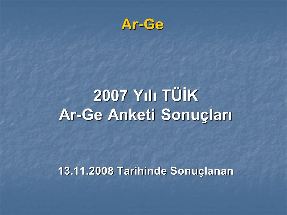 Ar-Ge 2007 Yılı TÜİK Ar-Ge Anketi Sonuçları 13.11.2008 Tarihinde Sonuçlanan