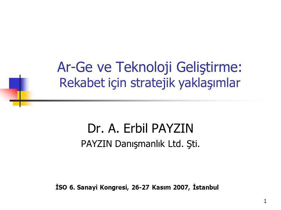 1 Ar-Ge ve Teknoloji Geliştirme: Rekabet için stratejik yaklaşımlar Dr.