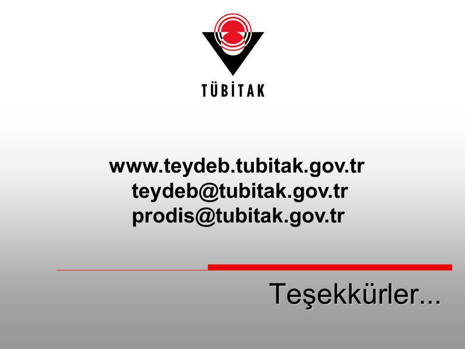 Teşekkürler... www.teydeb.tubitak.gov.tr teydeb@tubitak.gov.tr prodis@tubitak.gov.tr