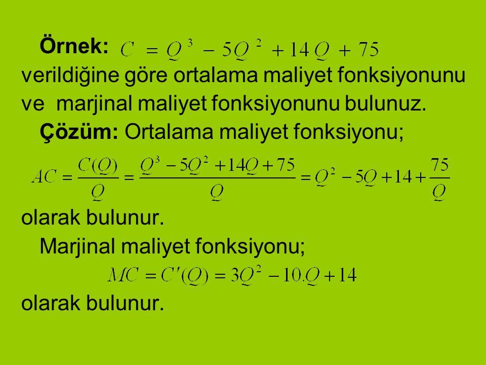 Örnek: verildiğine göre ortalama maliyet fonksiyonunu ve marjinal maliyet fonksiyonunu bulunuz. Çözüm: Ortalama maliyet fonksiyonu; olarak bulunur. Ma