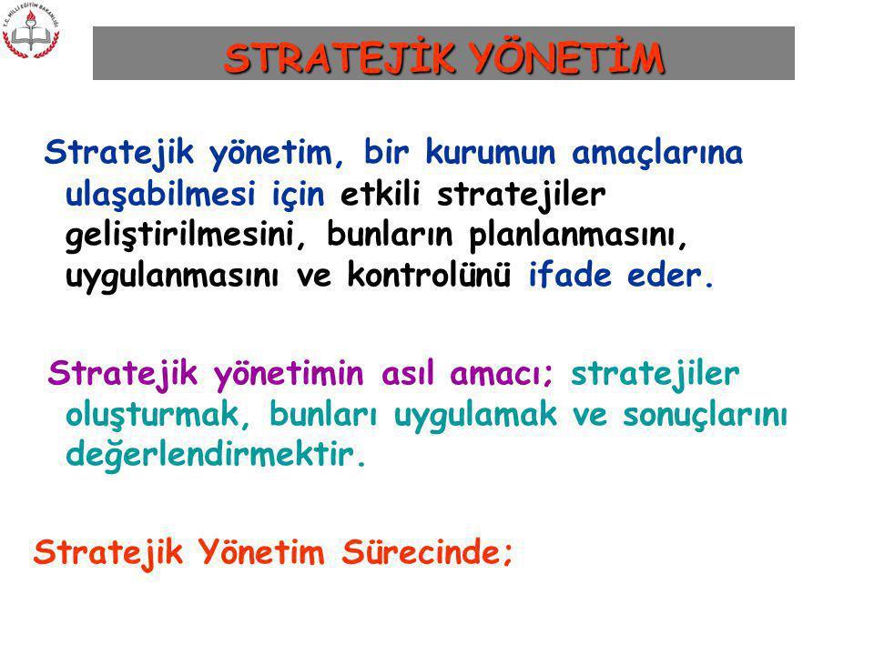Stratejik yönetim, bir kurumun amaçlarına ulaşabilmesi için etkili stratejiler geliştirilmesini, bunların planlanmasını, uygulanmasını ve kontrolünü i