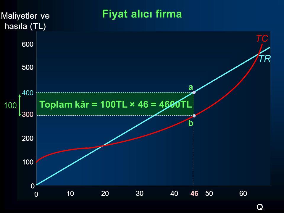 Toplam kâr = 100TL × 46 = 4600TL TR Maliyetler ve hasıla (TL) Q 600 500 400 300 200 100 0 0 102030405060 Fiyat alıcı firma TC 100 46 b a