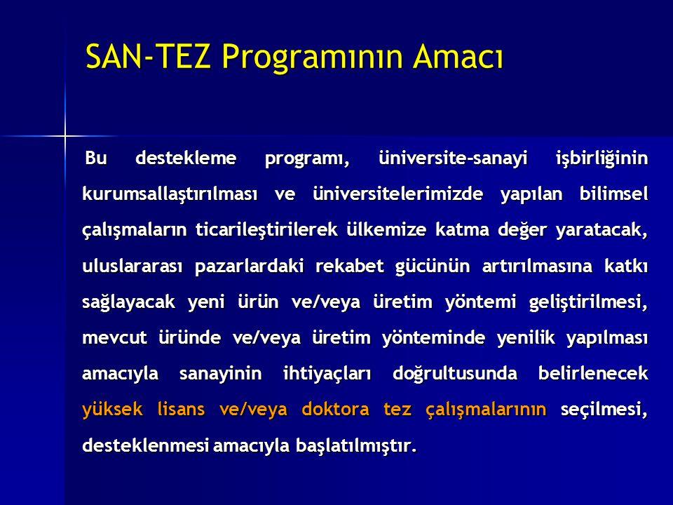 SAN-TEZ Programının Amacı Bu destekleme programı, üniversite-sanayi işbirliğinin kurumsallaştırılması ve üniversitelerimizde yapılan bilimsel çalışmal