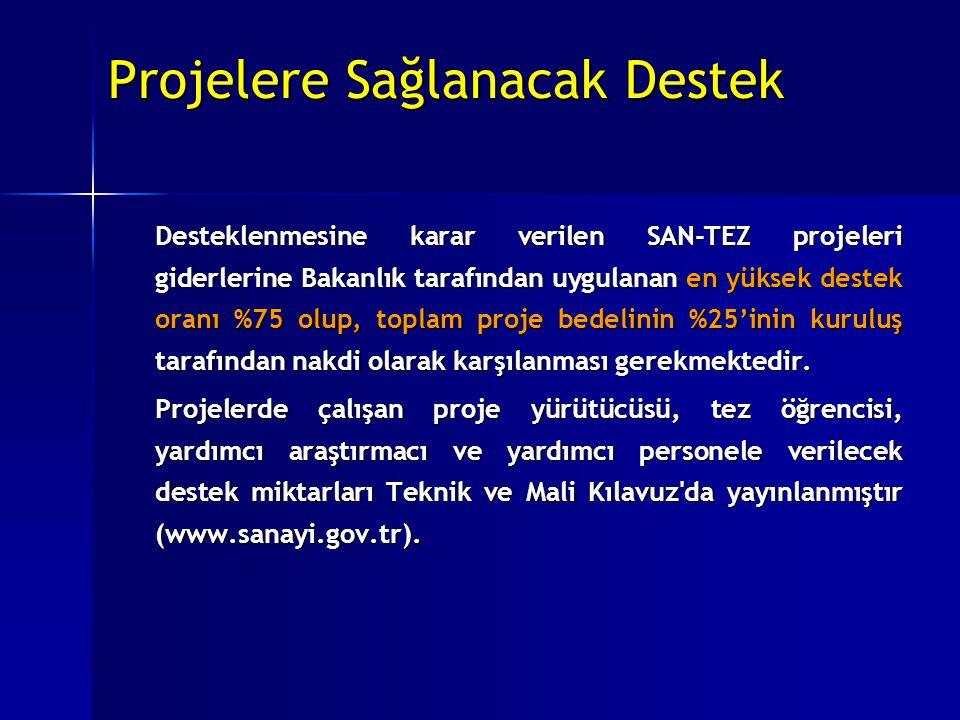 Projelere Sağlanacak Destek Projelere Sağlanacak Destek Desteklenmesine karar verilen SAN-TEZ projeleri giderlerine Bakanlık tarafından uygulanan en y