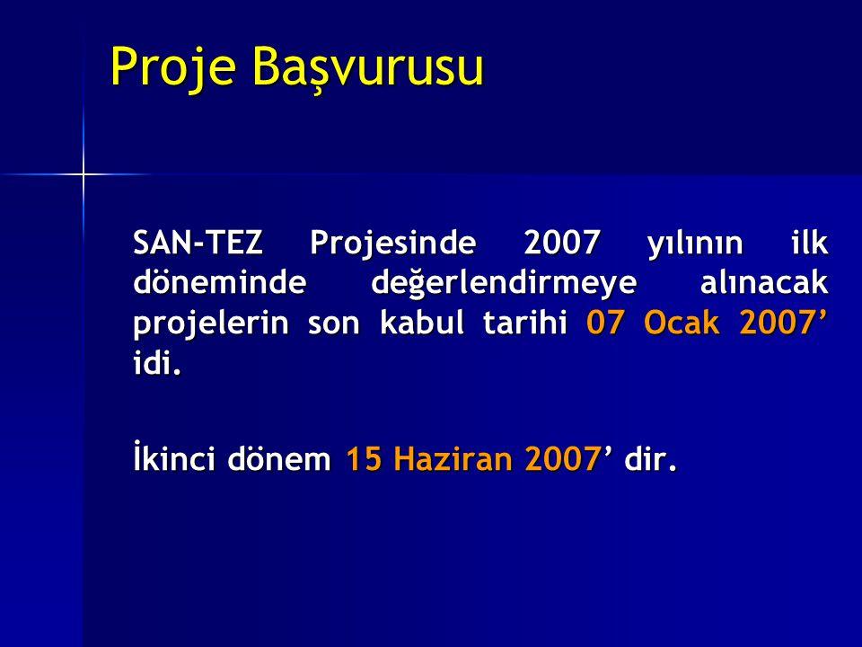 Proje Başvurusu SAN-TEZ Projesinde 2007 yılının ilk döneminde değerlendirmeye alınacak projelerin son kabul tarihi 07 Ocak 2007' idi. İkinci dönem 15