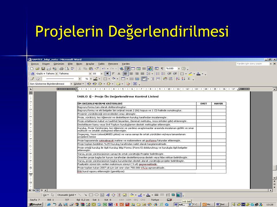 Projelerin Değerlendirilmesi