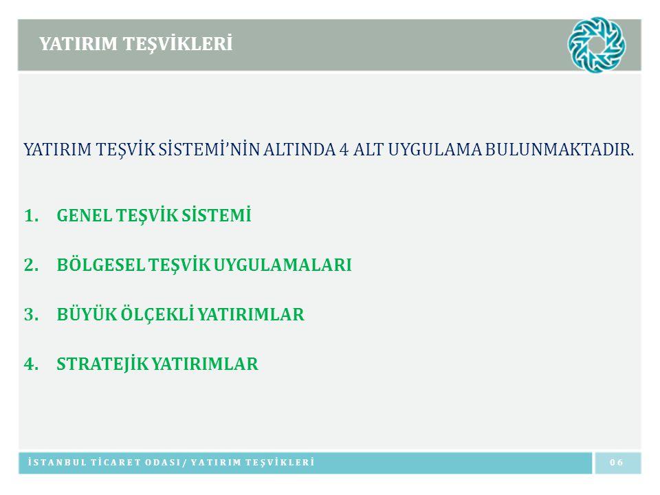 YATIRIM TEŞVİKLERİ İSTANBUL TİCARET ODASI/ GENEL TEŞVİK SİSTEMİ0707 GENEL TEŞVİK SİSTEMİ I VE II.