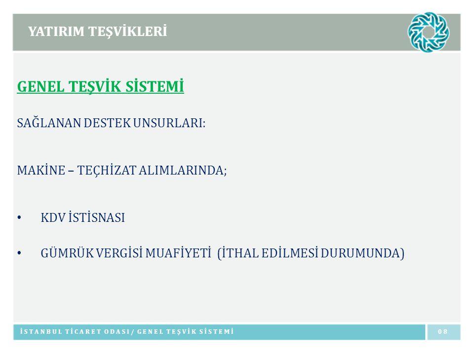 YATIRIM TEŞVİKLERİ İSTANBUL TİCARET ODASI/ BÜYÜK ÖLÇEKLİ YATIRIMLAR19 BÜYÜK ÖLÇEKLİ YATIRIMLAR TRANSİT BORU HATTIYLA TAŞIMACILIK HİZMETLERİ (50 MİLYON TL) ELEKTRONİK SANAYİ (50 MİLYON TL) TIBBİ ALET, HASSAS VE OPTİK ALETLER İMALATI (50 MİLYON TL) İLAÇ ÜRETİMİ (50 MİLYON TL) HAVA VE UZAY TAŞITLARI & PARÇALARI İMALATI (50 MİLYON TL) MAKİNE / ELEKTRİKLİ MAKİNE İMALATI (50 MİLYON TL) METAL ÜRETİMİNE YÖNELİK YATIRIMLAR (50 MİLYON TL)