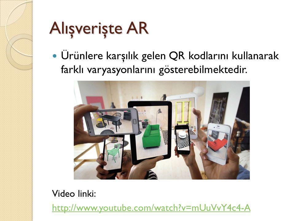 Alışverişte AR Ürünlere karşılık gelen QR kodlarını kullanarak farklı varyasyonlarını gösterebilmektedir. Video linki: http://www.youtube.com/watch?v=