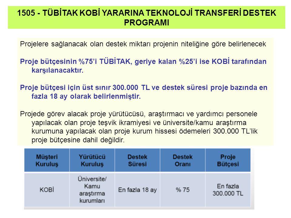 Projelere sağlanacak olan destek miktarı projenin niteliğine göre belirlenecek Proje bütçesinin %75'i TÜBİTAK, geriye kalan %25'i ise KOBİ tarafından karşılanacaktır.
