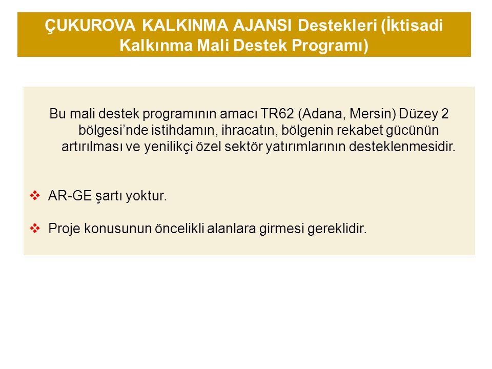 Bu mali destek programının amacı TR62 (Adana, Mersin) Düzey 2 bölgesi'nde istihdamın, ihracatın, bölgenin rekabet gücünün artırılması ve yenilikçi özel sektör yatırımlarının desteklenmesidir.