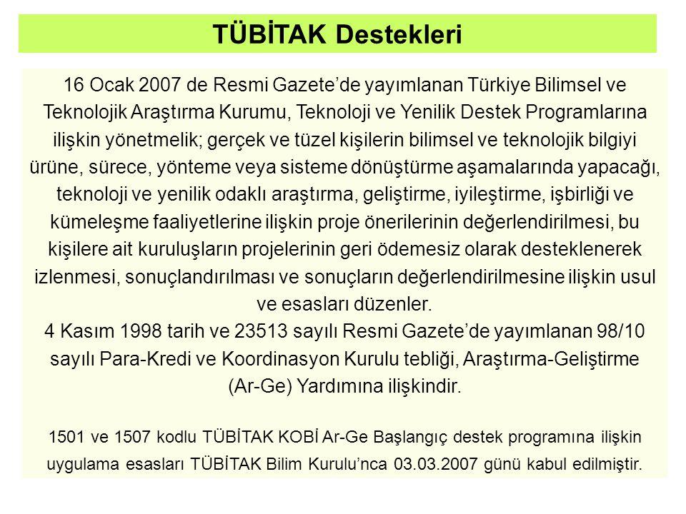 16 Ocak 2007 de Resmi Gazete'de yayımlanan Türkiye Bilimsel ve Teknolojik Araştırma Kurumu, Teknoloji ve Yenilik Destek Programlarına ilişkin yönetmelik; gerçek ve tüzel kişilerin bilimsel ve teknolojik bilgiyi ürüne, sürece, yönteme veya sisteme dönüştürme aşamalarında yapacağı, teknoloji ve yenilik odaklı araştırma, geliştirme, iyileştirme, işbirliği ve kümeleşme faaliyetlerine ilişkin proje önerilerinin değerlendirilmesi, bu kişilere ait kuruluşların projelerinin geri ödemesiz olarak desteklenerek izlenmesi, sonuçlandırılması ve sonuçların değerlendirilmesine ilişkin usul ve esasları düzenler.
