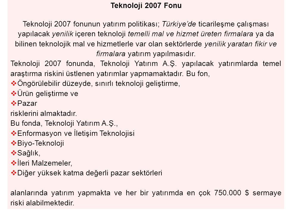Teknoloji 2007 Fonu Teknoloji 2007 fonunun yatırım politikası; Türkiye'de ticarileşme çalışması yapılacak yenilik içeren teknoloji temelli mal ve hizmet üreten firmalara ya da bilinen teknolojik mal ve hizmetlerle var olan sektörlerde yenilik yaratan fikir ve firmalara yatırım yapılmasıdır.