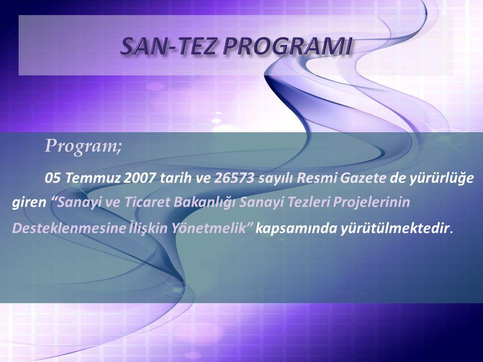 Program; 05 Temmuz 2007 tarih ve 26573 sayılı Resmi Gazete de yürürlüğe giren Sanayi ve Ticaret Bakanlığı Sanayi Tezleri Projelerinin Desteklenmesine İlişkin Yönetmelik kapsamında yürütülmektedir.