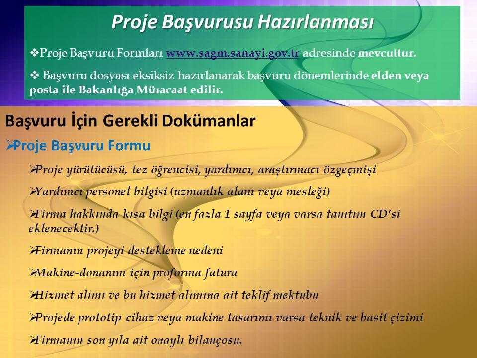 Proje Başvurusu Hazırlanması  Proje Başvuru Formları www.sagm.sanayi.gov.tr adresinde mevcuttur.