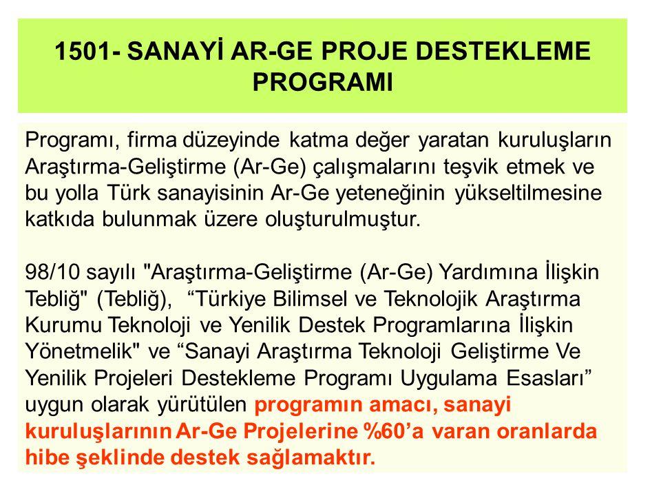 1501- SANAYİ AR-GE PROJE DESTEKLEME PROGRAMI Programı, firma düzeyinde katma değer yaratan kuruluşların Araştırma-Geliştirme (Ar-Ge) çalışmalarını teşvik etmek ve bu yolla Türk sanayisinin Ar-Ge yeteneğinin yükseltilmesine katkıda bulunmak üzere oluşturulmuştur.