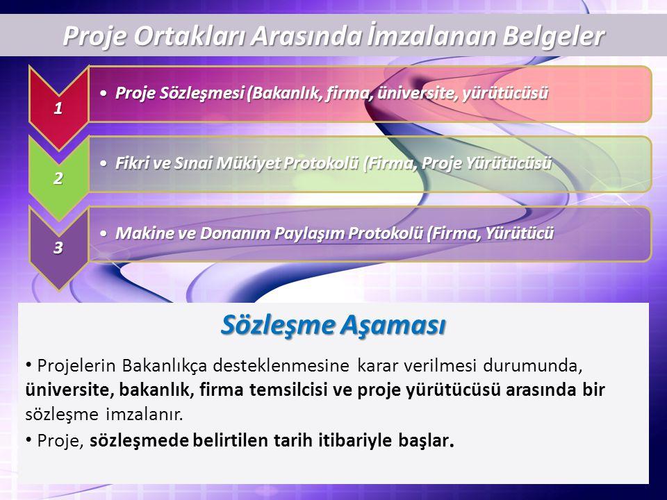 Proje Ortakları Arasında İmzalanan Belgeler 1 Proje Sözleşmesi (Bakanlık, firma, üniversite, yürütücüsüProje Sözleşmesi (Bakanlık, firma, üniversite, yürütücüsü 2 Fikri ve Sınai Mükiyet Protokolü (Firma, Proje YürütücüsüFikri ve Sınai Mükiyet Protokolü (Firma, Proje Yürütücüsü 3 Makine ve Donanım Paylaşım Protokolü (Firma, YürütücüMakine ve Donanım Paylaşım Protokolü (Firma, Yürütücü Sözleşme Aşaması Projelerin Bakanlıkça desteklenmesine karar verilmesi durumunda, üniversite, bakanlık, firma temsilcisi ve proje yürütücüsü arasında bir sözleşme imzalanır.