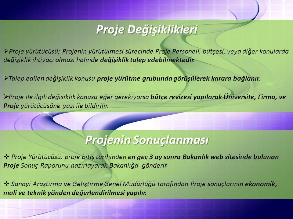 Proje Değişiklikleri  Proje yürütücüsü; Projenin yürütülmesi sürecinde Proje Personeli, bütçesi, veya diğer konularda değişiklik ihtiyacı olması halinde değişiklik talep edebilmektedir.