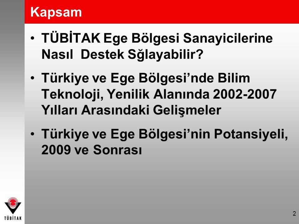 2 Kapsam TÜBİTAK Ege Bölgesi Sanayicilerine Nasıl Destek Sğlayabilir? Türkiye ve Ege Bölgesi'nde Bilim Teknoloji, Yenilik Alanında 2002-2007 Yılları A