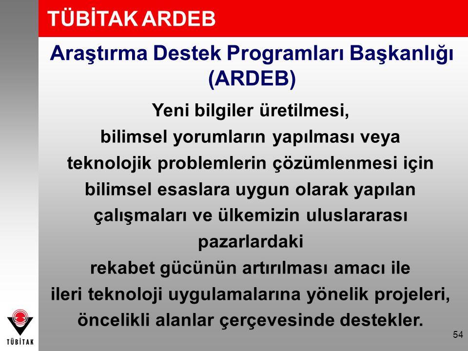 54 Araştırma Destek Programları Başkanlığı (ARDEB) TÜBİTAK ARDEB Yeni bilgiler üretilmesi, bilimsel yorumların yapılması veya teknolojik problemlerin