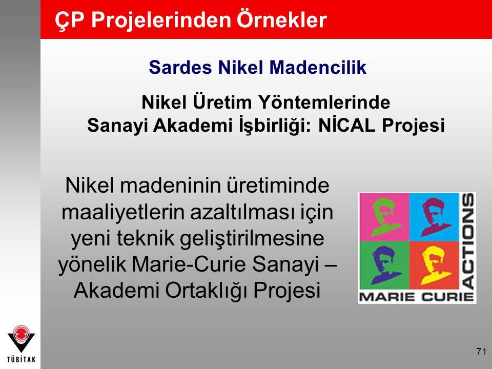 71 ÇP Projelerinden Örnekler Sardes Nikel Madencilik Nikel Üretim Yöntemlerinde Sanayi Akademi İşbirliği: NİCAL Projesi Nikel madeninin üretiminde maa
