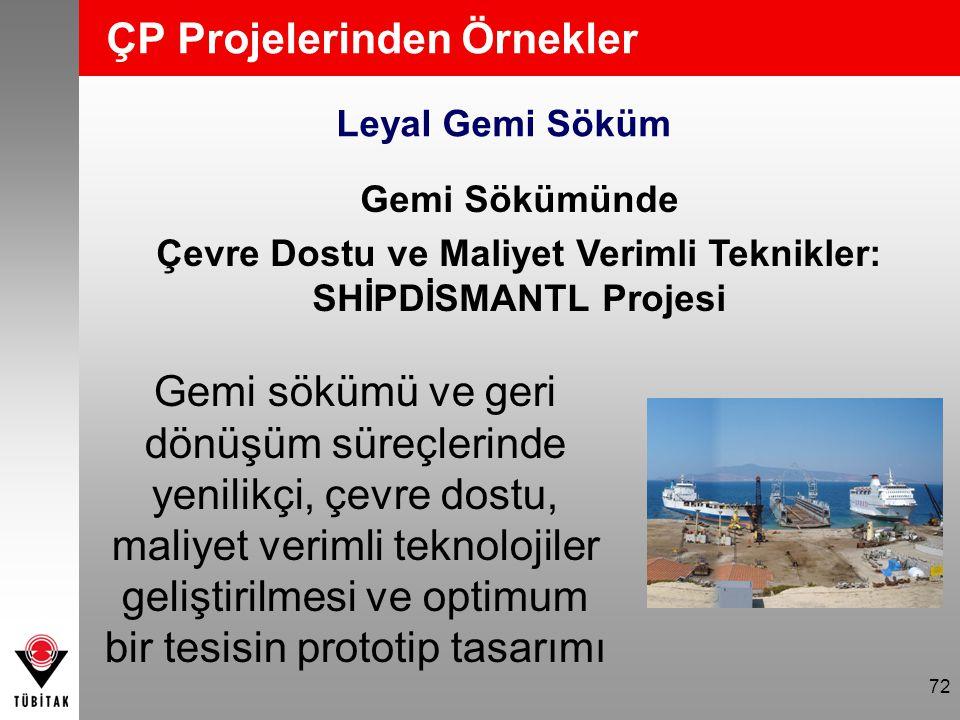 72 ÇP Projelerinden Örnekler Leyal Gemi Söküm Gemi Sökümünde Çevre Dostu ve Maliyet Verimli Teknikler: SHİPDİSMANTL Projesi Gemi sökümü ve geri dönüşü