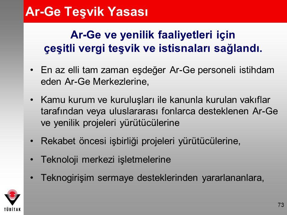 73 Ar-Ge Teşvik Yasası En az elli tam zaman eşdeğer Ar-Ge personeli istihdam eden Ar-Ge Merkezlerine, Kamu kurum ve kuruluşları ile kanunla kurulan va