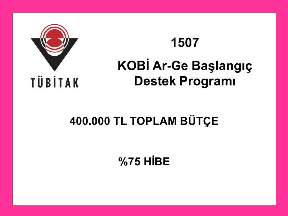 1507 KOBİ Ar-Ge Başlangıç Destek Programı 400.000 TL TOPLAM BÜTÇE %75 HİBE