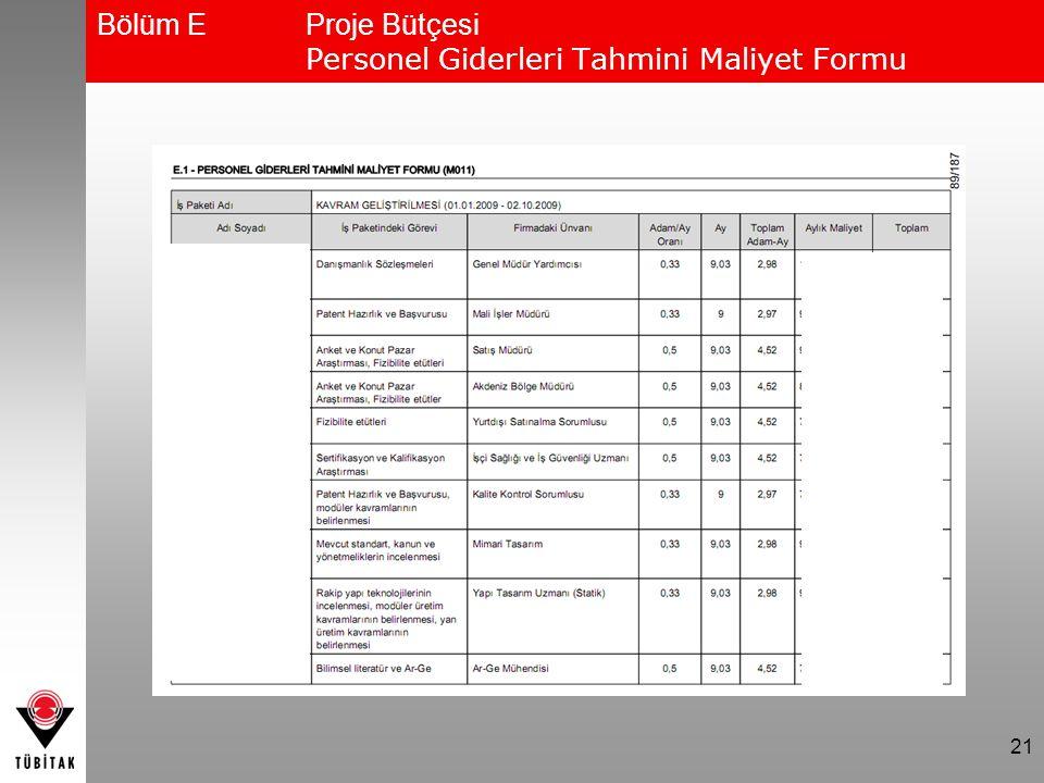 21 Bölüm EProje Bütçesi Personel Giderleri Tahmini Maliyet Formu