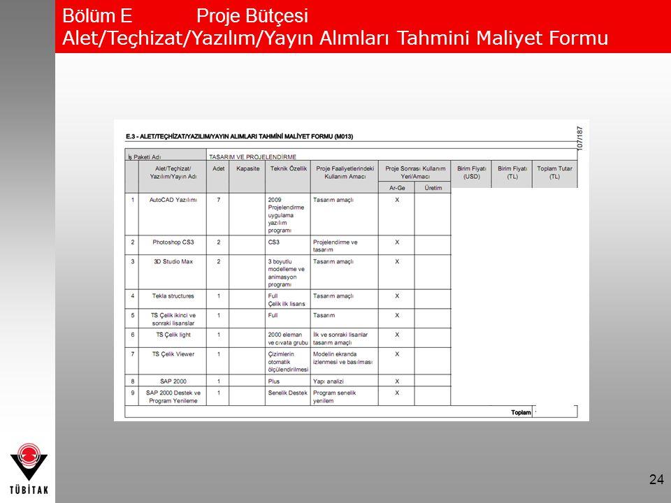24 Bölüm EProje Bütçesi Alet/Teçhizat/Yazılım/Yayın Alımları Tahmini Maliyet Formu