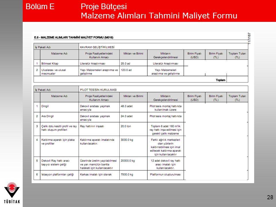 28 Bölüm EProje Bütçesi Malzeme Alımları Tahmini Maliyet Formu