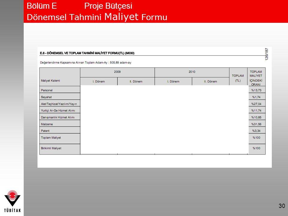 30 Bölüm EProje Bütçesi Dönemsel Tahmini Maliyet Formu